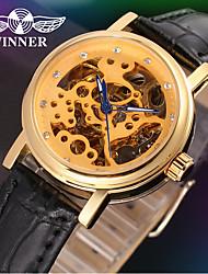 WINNER Mulheres Relógio Elegante Relógio de Pulso relógio mecânico Automático - da corda automáticamente Gravação Oca Couro Banda Luxo
