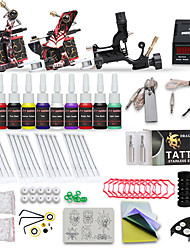 cheap -Professional Tattoo Kit 10 Color Inks 1 Rotary Machine 2 Cast Iron Machines Liner & Shader LCD Power 20 Tattoo Needles