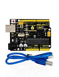 abordables -1pcs keyestudio uno r3 board (original chip) 1pcs usb cablemanual 100% compatible for arduino uno r3