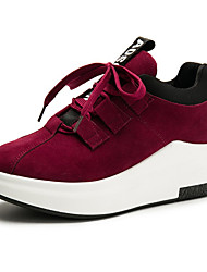 cheap -Women's Shoes Suede Winter Comfort Sneakers Round Toe Lace-up For Casual Green Red Black