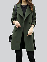 cheap -Women's Simple Casual Coat-Solid Colored Shirt Collar