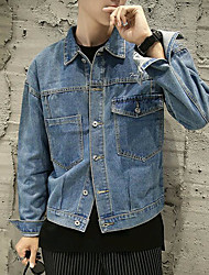 cheap -Men's Denim Jacket - Solid Colored Shirt Collar