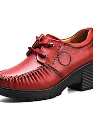Недорогие -Жен. Обувь Кожа Дерматин Весна Лето Удобная обувь Обувь на каблуках На толстом каблуке Круглый носок для Повседневные Черный Красный