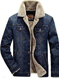cheap -Men's Plus Size Denim Jacket - Solid