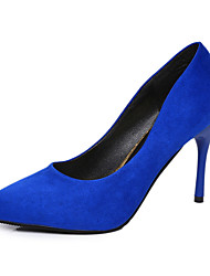 cheap -Women's Shoes PU Spring Summer Sandals Kitten Heel Pointed Toe For Dress Going out Casual/Daily Black Fuchsia Red Blue