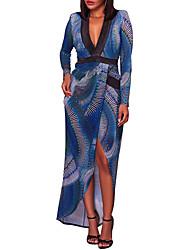cheap -Women's Club Plus Size Sheath Dress,Print Deep V Asymmetrical Long Sleeves Polyester High Rise Micro-elastic Medium