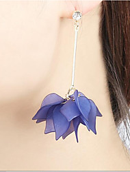Women's Drop Earrings Hoop Earrings Floral Statement Jewelry Acrylic Alloy Flower Leaf Jewelry For Casual Going out