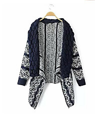 cheap -Women's Daily Casual Regular Cardigan,Geometric Peter Pan Collar Long Sleeves Cashmere Fall Thick Inelastic