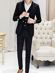 cheap -Men's Daily Casual Fall Suits,Solid Peaked Lapel Long Sleeve Regular Cotton