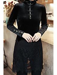 economico -Camicia Da donna Per uscire Casual Autunno,Tinta unita Girocollo Cashmere Acrilico Elastene Maniche lunghe Medio spessore