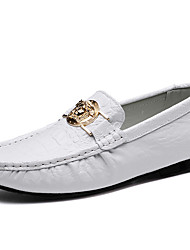 cheap -Men's Shoes Nappa Leather Spring Fall Comfort Moccasin Loafers & Slip-Ons for Casual Party & Evening White Black Brown Blue