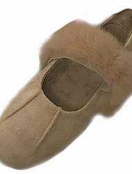 Feminino Sapatos Couro Ecológico Inverno Outono Conforto Mocassins e Slip-Ons Raso Ponta Redonda para Casual Café Amêndoa