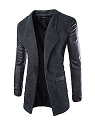 cheap -Men's Work Vintage Winter Fall Trench Coat,Solid Stand Long Sleeve Long Cotton