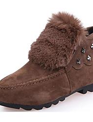 Недорогие -Жен. Обувь Нубук Зима Осень Удобная обувь Зимние сапоги Ботинки Для прогулок На плоской подошве Круглый носок Ботинки Заклепки для