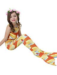 cheap -Girls' Cute Active Print Swimwear,Cotton Polyester Sleeveless Orange