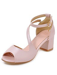 cheap -Women's Shoes Leatherette Summer Comfort Sandals Chunky Heel Open Toe Buckle for Casual Pink Black White
