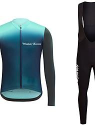 abordables -Manga Larga Maillot de Ciclismo con Mallas Bib - Negro/amarillo Azul Marino Oscuro Bicicleta Camiseta/Maillot Sets de Prendas