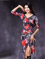 baratos -Dança do Ventre Vestidos Mulheres Espetáculo Fibra de Leite Chiffon Aveludado Estampa Com Fenda Meia Manga Natural Vestido