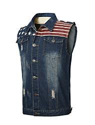 cheap -Men's Street chic Cotton Vest - Galaxy, Print Shirt Collar / Sleeveless