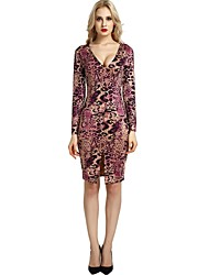 cheap -Women's Bodycon Shift Sheath Dress - Floral Leopard Animal Print, Split High Waist V Neck