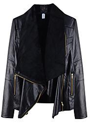 Недорогие -Для женщин На каждый день Осень Кожаные куртки Воротник шалевого типа,Простой Однотонный Обычная Длинный рукав,Полиэстер