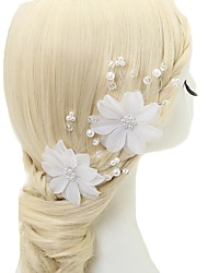 cheap -Chiffon Crystal Imitation Pearl Alloy Hair Pin 2pcs Wedding Special Occasion Headpiece