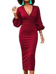 cheap -Women's Daily Going out Casual Sheath Dress,Solid V Neck Midi Long Sleeve Polyester Summer Mid Rise Inelastic Thick