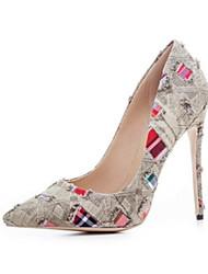 abordables -Femme Chaussures Polyuréthane Printemps Eté Confort Chaussures à Talons Talon Aiguille Bout fermé Bout pointu pour Marron Bleu