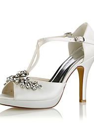 baratos -Mulheres Sapatos Cetim com Stretch Verão Plataforma Básica Sapatos De Casamento Salto Agulha Peep Toe Cristais / Presilha Azul Real /