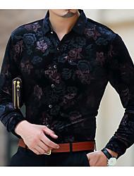Недорогие -Для мужчин Праздники Зима Рубашка Рубашечный воротник,Богемный Цветочный принт Длинные рукава,Хлопок,Толстая