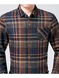 economico -Camicia Da uomo Casual Moda città Autunno,Pied-de-poule Colletto Cotone Maniche lunghe Medio spessore