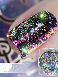 cheap -1pc Glitters Sparkle Laser Holographic Glitter Powder Multi-Colored Nail Art Design