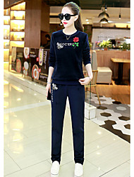 cheap -Women's Casual/Daily Simple Winter Set Dress Suits,Solid Round Neck Long Sleeve Silk