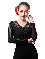 cheap -Ballroom Dance Tops Women's Performance Tulle Lace Long Sleeve Natural Tops