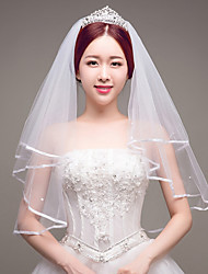 cheap -Two-tier Bridal Imitation Pearl Wedding Wedding Veil Fingertip Veils 53 Ribbon Tie Tulle
