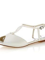 abordables -Femme Chaussures Satin Elastique Eté Confort Chaussures de mariage Talon Plat Bout ouvert Boucle pour Soirée & Evénement Habillé Ivoire