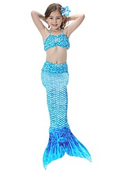 cheap -The Little Mermaid Skirt Children's Halloween Festival / Holiday Halloween Costumes Green Blue Pink Golden Fuchsia Mermaid Halloween