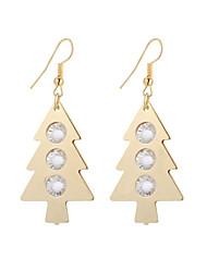baratos -Mulheres 2pçs Brincos Compridos Brincos dangle Gema Boêmio Elegant Fashion Cristal Liga árvore de Natal Árvore da Vida Jóias Presente