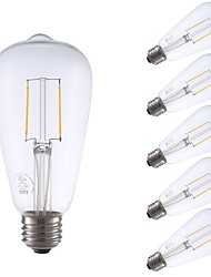 abordables -GMY® 6pcs 2W 220lm E26 Ampoules à Filament LED ST21 2 Perles LED COB Intensité Réglable Edison Ampoule Décorative Lampe LED Blanc Chaud