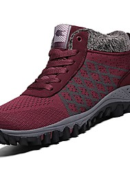 cheap -Women's Shoes PU Winter Light Soles Athletic Shoes Hiking Shoes Flat Heel Round Toe for Athletic Red Gray Black
