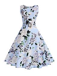 cheap -Women's Party Holiday Vintage Street chic Sheath Dress,Floral Round Neck Midi Sleeveless Cotton Winter Fall High Waist Inelastic Thin