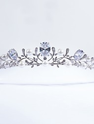 cheap -Cubic Zirconia copper Tiaras with Imitation Pearl 1pc Wedding Special Occasion Headpiece