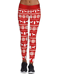 cheap -Women's Stylish Polyester Spandex Medium Print Legging,Print Red