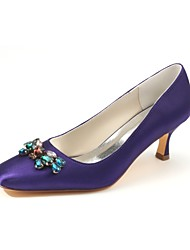 baratos -Mulheres Sapatos Cetim com Stretch Primavera / Outono Plataforma Básica Sapatos De Casamento Salto Baixo Ponta quadrada Cristais Roxo