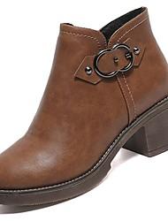 Недорогие -Жен. Обувь Полиуретан Зима Удобная обувь Ботинки На низком каблуке Круглый носок Сапоги до середины икры для на открытом воздухе Черный