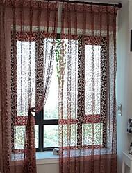 abordables -Anillo Doble plisado Solo plisado Ventana Tratamiento Modern, Impreso y Jacquard Floral Sala de estar Mezcla de poliéster Material Sheer