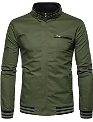 cheap -Men's Casual Cotton Jacket-Solid Colored Stand