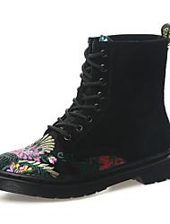 Feminino Sapatos Pele Nobuck Pele Inverno Outono Conforto Coturnos Botas Salto Robusto Botas Cano Médio para Casual Preto