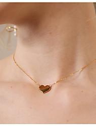 Недорогие -Жен. Ожерелья с подвесками - Сердце Простой, Мода Золотой Ожерелье 1 Назначение Повседневные, На выход