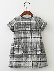 cheap -Girl's Daily Solid Print Grid/Plaid Dress,Cotton Spring Fall Short Sleeves Cute Casual Blushing Pink Gray